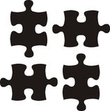 Basic black puzzle pieces Stock Photo
