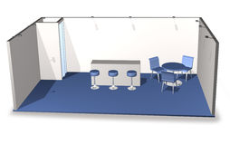Basic blank fair stand. With chairs and table, add your own design Stock Images