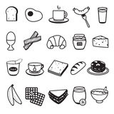 Basic Breakfast Icons Set. 20 icons of breakfast as egg bread milk and pancake Vector Illustration