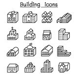 Basic building in 3 dimension icon set thin line style. Illustration graphic design Royalty Free Stock Photography