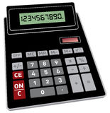 Basic calculator in 3D. Vector illustration of basic black calculator with 3D perspective Royalty Free Stock Images