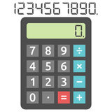 Basic calculator and digits Royalty Free Stock Images