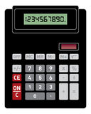 Basic calculator front view. Vector illustration of basic black calculator with front view Royalty Free Stock Images