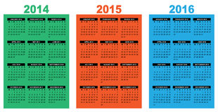 Basic calendar 2014-2016. Illustration of a basic overview calendar 2014-2015-2016, vector image, week starting on monday Stock Image