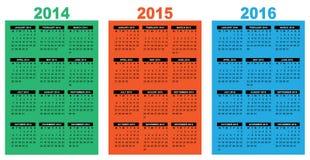 Basic calendar 2014-2016 Stock Image