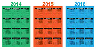 Basic calendar 2014-2016. Illustration of a basic overview calendar 2014-2015-2016, vector image, week starting on sunday Royalty Free Stock Image