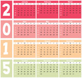Basic Calender 2015 in  Stock Images