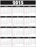 Basic Calender 2015 in. Can be converted into any size for printing without losing resolution Stock Photography