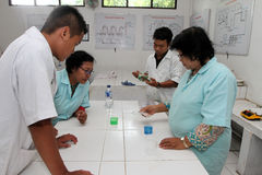 Basic chemical. Vocational students are following basic chemical practice in the city of Solo, Central Java, Indonesia Stock Images