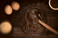 Basic Chocolate Cake or Cookie Dough Stock Images