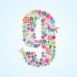 Vector Colorful Floral 9 Number Design isolated on white background. Floral Number Nine Typeface vector illustration