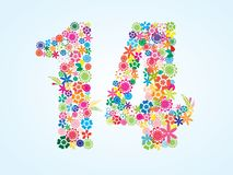 Vector Colorful Floral 14 Number Design isolated on white background. Floral Number Fourteen Typeface. Vector Colorful Floral 14 Number Design isolated on white royalty free illustration