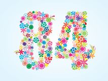 Vector Colorful Floral 84 Number Design isolated on white background. Floral Number Eighty Four Typeface. Vector Colorful Floral 84 Number Design isolated on vector illustration