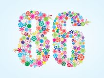 Vector Colorful Floral 86 Number Design isolated on white background. Floral Number Eighty Six Typeface. Vector Colorful Floral 86 Number Design isolated on vector illustration