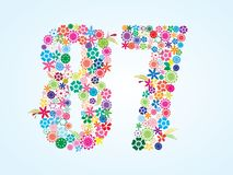 Vector Colorful Floral 87 Number Design isolated on white background. Floral Number Eighty Seven Typeface. Vector Colorful Floral 87 Number Design isolated on royalty free illustration