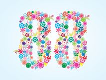 Vector Colorful Floral 88 Number Design isolated on white background. Floral Number Eighty Eight Typeface. Vector Colorful Floral 88 Number Design isolated on vector illustration