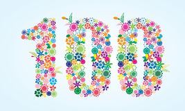 Vector Colorful Floral 100 Number Design isolated on white background. Floral Number One Hundred Typeface. Vector Colorful Floral 100 Number Design isolated on vector illustration