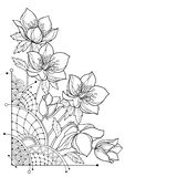 Vector corner bouquet with outline Hellebore or Helleborus or Winter rose, bud and leaf in black isolated on white background. vector illustration