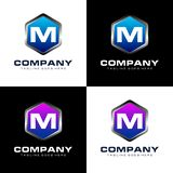 Shield Of Letter M Logo Design stock illustration