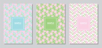 Set of three vintage book cover template with pastel rose flower seamless pattern. royalty free stock images