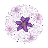 Vector round bouquet with outline pastel purple Clematis or Traveller`s joy ornate flower bunch, bud and leaves isolated on white. Vector round bouquet with royalty free illustration