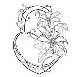Vector padlock heart with outline bunch of Clematis or Traveller`s joy flower, leaf and bud in black isolated on white background. Ornate Clematis bunch in vector illustration