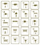 Basic CMYK. Set of barbecue grilll with boar and chicken icons. Vector illustration Stock Photography