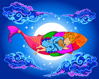 Basic CMYK. Sleeping baby floating on fish in the sky Stock Image