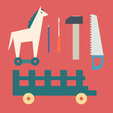 Basic CMYKVintage wooden horse and toy tools Royalty Free Stock Photography