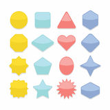 Basic colorful geometrical shapes web buttons set Stock Photos