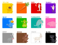Basic colors educational set. Cartoon Illustration of Basic Colors Educational Set for Children Stock Photos