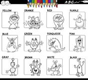 Basic colors set for coloring with monsters. Black and White Cartoon Illustration of Basic Colors Educational Workbook Set for Children with Monsters Comic Stock Images