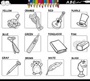 Basic colors set for coloring with objects. Black and White Cartoon Illustration of Basic Colors Educational Workbook Set for Children with Objects Royalty Free Stock Photo