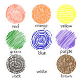 Basic colors. Vector illustration of shapes in different colors. Stock Photo