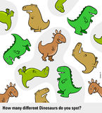 Basic counting puzzle with dinosaurs for kids Stock Images
