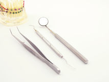 Basic dental tools and dental model Royalty Free Stock Photography