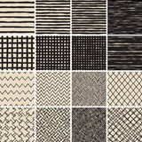 Basic Doodle Seamless Pattern Set No.2 in black and white. Is collection of 16 simple repetitive patterns. Illustration is in eps8 vector mode, background on Royalty Free Stock Photo