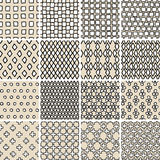 Basic Doodle Seamless Pattern Set No.3 in black and white Stock Image