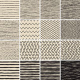 Basic Doodle Seamless Pattern Set No.6 in black and white Royalty Free Stock Photography