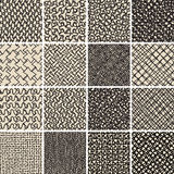 Basic Doodle Seamless Pattern Set No.8 in black and white Stock Photography