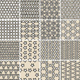 Basic Doodle Seamless Pattern Set No.10 in black and white. Is collection of 16 simple repetitive patterns. Illustration is in eps8 vector mode, background on Royalty Free Stock Image