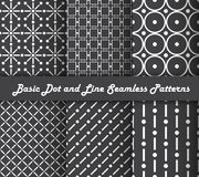 Basic dot and line seamless patterns Royalty Free Stock Photos