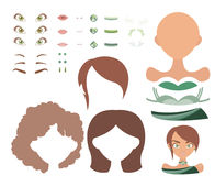 Basic dress up game with different face parts and clothes in green and brown palette. Set of dress up constructor with different face parts and clothes in green Stock Photography