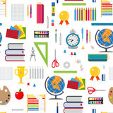 Basic education seamless background with stationary elements. Stock Photos