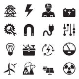 Basic Electricity icons set Royalty Free Stock Photo