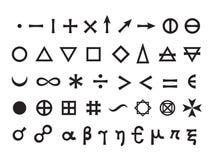 Basic Elements and Mathematical Symbols Stock Photo