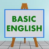 Basic English concept. 3D illustration of BASIC ENGLISH title on a tripod display board Royalty Free Stock Photo
