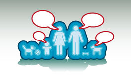 Basic family with text bubbles. Illustration Royalty Free Stock Images