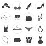 Basic Fashion Icons Vector Collection Royalty Free Stock Photography