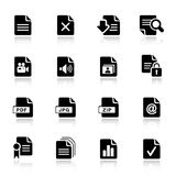 Basic -  File format icons. 16 file format icons set Stock Photos